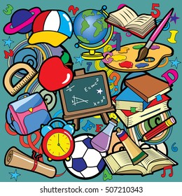 Back to School doodle set. Various school stuff - supplies for sport, art, reading, science, geography, biology, physics, mathematics, astronomy, chemistry