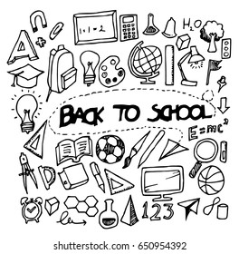 back to school doodle sketch vector ink