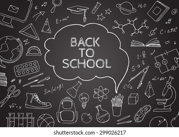 Back to school doodles in chalkboard background. Vector  hand drawing icons. Linear illustration.  Back to School. Items.