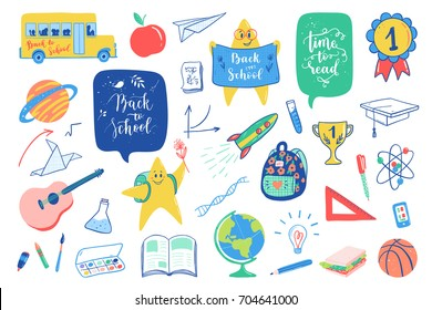 Back to school doodles elements set. Vector quote Back to school, Time to read with school bus, planet, rocket, character, globe, backpack, ball, reading, notepad, book, stars, airplane. School icons.