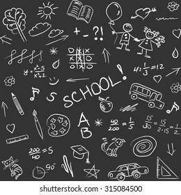 Back to school doodles on blackboard, seamless pattern. Vector illustration