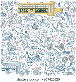 Back to school doodles set. Teenagers stuff and equipment. Vector drawing isolated on white background