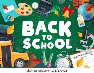 Back to school education cartoon vector. Blackboard with mathematics formulas and schoolbag, calculator, pen and pencils, autumn tree leaves, certificate, basketball ball and school bus