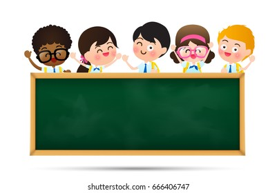 Back to school and education concept, Happy cartoon group of kids in student uniform behind black board with copy space over white background vector illustration eps10