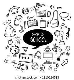 Back to school education with hand drawn doodles
