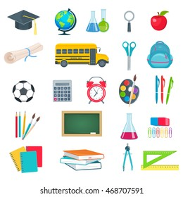 Back to school education icons set. Set of vector school supplies textbooks globe notebook pen brush paint line bulb school board schoolbag school bus in the flat style.