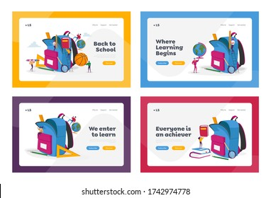 Back to School, Education Landing Page Template Set. Tiny Characters Put in Huge Backpack Educational Tools, Stationery. Ball, Globe, Book for Different Disciplines. Cartoon People Vector Illustration