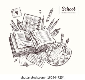 Back to school. Education. Office. Stationery. Graduation. Teachers day. Vector Hand Drawn. Sketch Botanical Illustration. Notebooks, stickers, pens, pencils, markers, brushes, paints