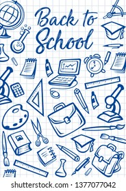 Back to School education stationery on checkered notebook pattern background. Vector Back to School poster with student bag, microscope or laptop computer and eraser, study books, pens and pencils