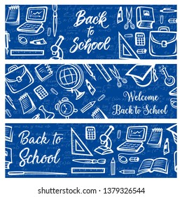 Back to School education and study supplies on algebra mathematics formula pattern background. Vector Welcome Back to School banners with student bag, college graduate cap or laptop computer and clock