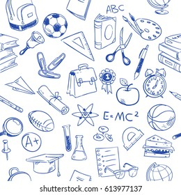 Back to school, education vector doodles, pencil drawing seamless pattern. Education pattern with book sketch, illustration of drawing seamless education background