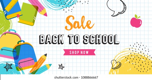 Back to school and educational concept design, sale banner