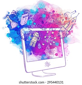 Back to School: e-learning technology concept with computer with science lab objects sketchy composition, vector illustration isolated on white.