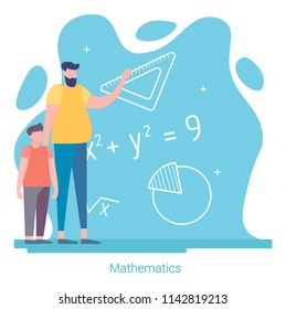 Back to School. Father and son study mathematics. Education concept. Vector Illustration