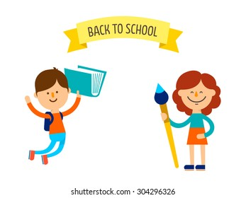 Back to school flat design banner. Cute children with text on ribbon. Isolated on white background. Vector stock.