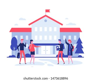 Back to school - flat design style illustration on white background. High quality composition with male, female students, teenagers with books and bags at the building before lessons. Education theme