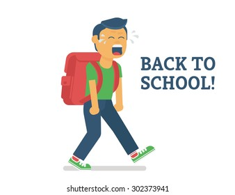 Back to school. Flat illustration of crying boy going to school