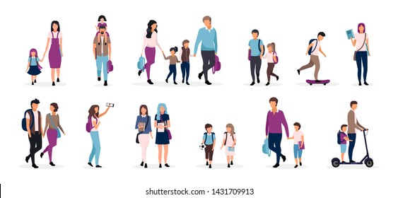 Back to school flat vector illustrations set. Preteen and teenage schoolkids, schoolchildren. Parents with kids, classmates, friends cartoon characters on white background. Schoolboys and schoolgirls