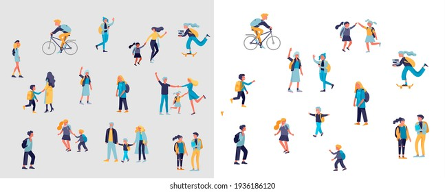 Back to school flat vector illustrations set. Preteen and teenage schoolkids. Parents with kids, schoolmates, friends cartoon characters isolated on white background. Schoolboys
