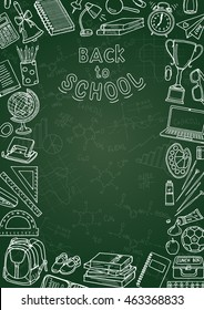 Back to school flyer template with different school objects