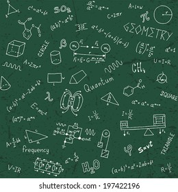 Back to school formulas. Seamless pattern. Hand drawn vector illustration.
