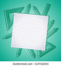 Back to school frame background banner with checked paper with space for text, vector illustration.