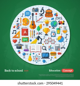 Back to School Frame. Vector Illustration. Flat Icons on Chalkboard Textured Backdrop with Paper Circle. Education Concept.