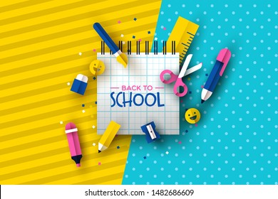 Back to school fun greeting card of white notebook typography sign with 3d paper cut class supplies decoration. Includes colorful pencil, ruler, happy emoji and scissors.