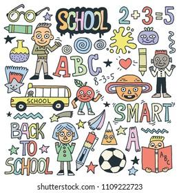 Back To School Funny Doodle Set 1. Color Drawing. Vector Illustration.