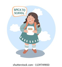 Back to school. Girl with book and briefcase. Image of a girl first-grader. Vector cartoon illustration. Isolated.