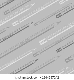 Back to school grayscale seamless pencils pattern