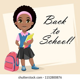 Back to School greeting card, poster or flyer. Cute African American girl holding books, cartoon character. Vector illustration
