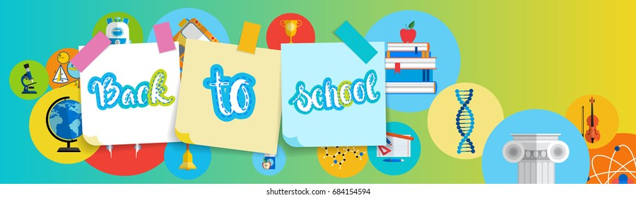 Back To School Greeting Colorful Banner With Studing Supplies Flat Vector Illustration