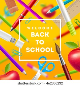Back to school greeting - vector illustration with stationery items