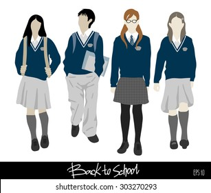 Back to school . Group of vector students from high school. Boys and girls going to school.  Easy to change color