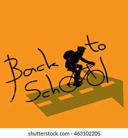 back to school. the guy is in a hurry to bike to school
