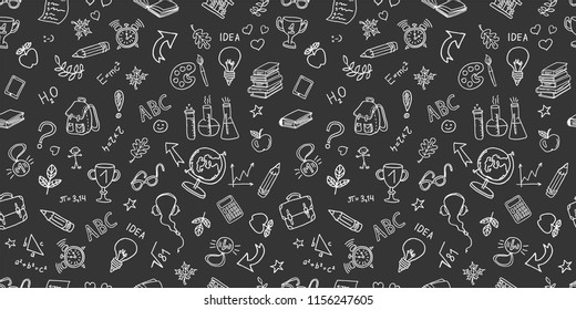 Back to school. hand drawn elements pattern on  background of chalkboard. . Vector background, horizontal banner