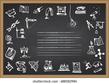 Back to school. Hand drawn school icons and symbols on chalkboard. With place for your text Vector illustration