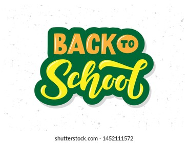 Back to school hand drawn lettering. Template for logo, banner, poster, flyer, greeting card, web design, print design. Vector illustration.