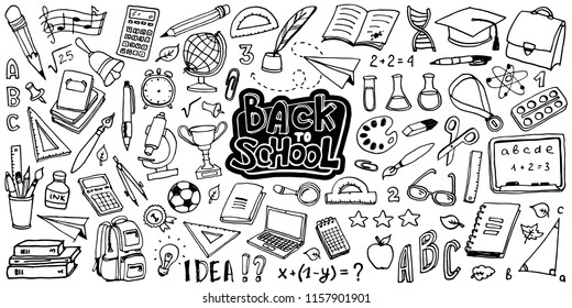 Back to School with hand drawn school supplies - big set. Doodle lettering and school object collection. Sketch icon. Kids style ink background. Education Concept. Vector illustration.