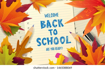 Back to school hand lettering text with bright autumn leaves. Concept design, banner, poster, invitation, card, greeting. Vector illustration. Typography.