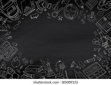 Back to school hand-drawn doodles blackboard background. Education sketchy with school supplies.