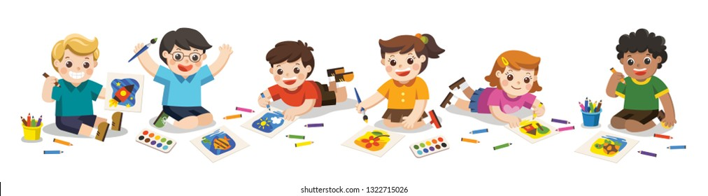 Back to school, Happy Children draw pictures pencils and paints on floor.Isolated vector.