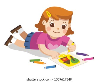 Back to school, Happy Girl draw pictures pencils and paints on floor.Isolated vector.