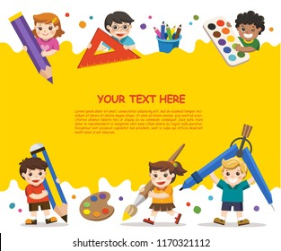 Back to School. Happy school kids with elements of school. Template for advertising brochure. Children look up with interest.