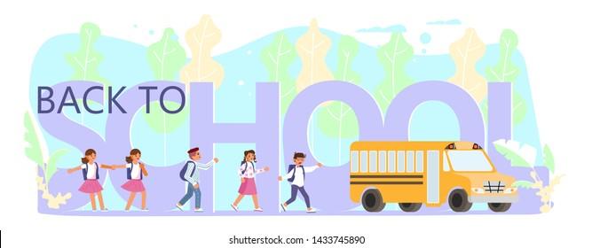 Back to school horizontal banner. School children go to the schoolbus. Flat Art Vector illustration