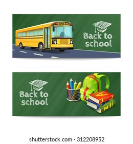Back to school horizontal banners set with bus rucksack and books realistic isolated vector illustration