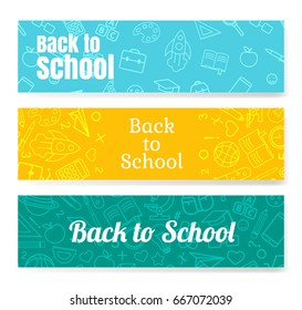 Back to School horizontal banners with texture from line art icons of education, science objects and office supplies.