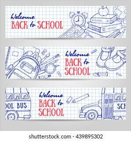 Back to School horizontal banners. Vector illustration with sketchy stationery, blackboard, school bus. Can use for web