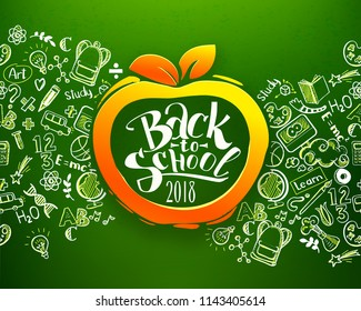 Back to school Horizontal chalkboard with hand drawn pattern and calligraphy logo on orange apple. Education background for posters, banners. School idea and typography background. Vector illustration